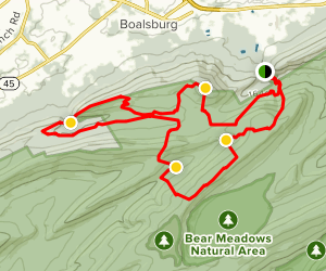 Old Lauren Run to Charcoal Flats to Spruce Gap Loop Map