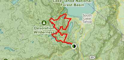 Echo Lake to Emerald Bay via PCT and Mount Tallac Loop Map