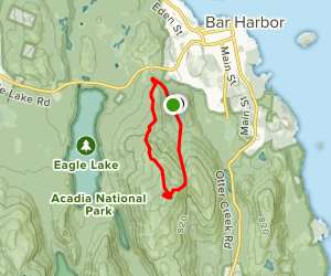 Cadillac Mountain North Ridge Trail to Gorge Path Loop Map