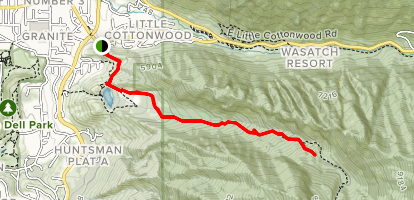 Bells Canyon Trail to Lower Falls Map