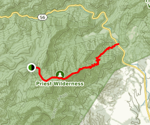 Appalachian Trail: Route 56 to Priest Shelter Map