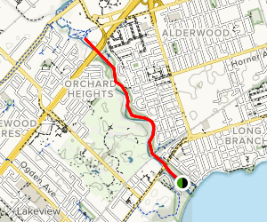 Etobicoke Creek Trail in Mississauga from Marie Curtis Park Map