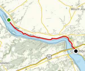 NW Lancaster County River Trail: Bainbridge to Columbia Map