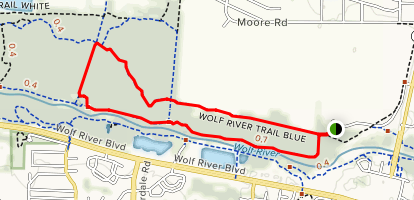Wolf River Blue and Yellow Trail Extended Loop Map