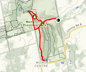 Cliff-Top Side Trail via Carriage Trail and Spillway Trail Map