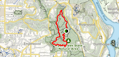 North Horse Trail to Lewis and Clark Trail and Big Fir Trail Map