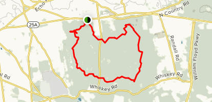 Blue and Red Trail Loop from Route 25A Map