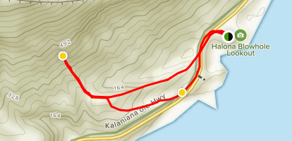 Koko Crater Arch Trail from Halona Blowhole Lookout Map
