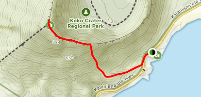 Koko Crater Arch to Peak  Map