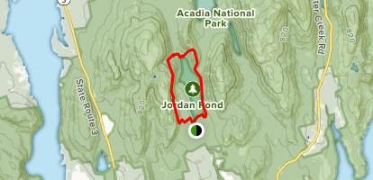 Jordan Cliffs Trail to Bubbles Trail to Jordan Pond Path Map