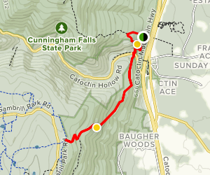Cunningham Falls Manor to White Rock via Catoctin Trail Map