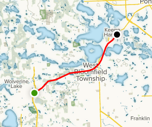 West Bloomfield Trail from Western Terminus Map