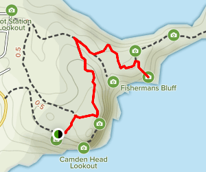 Charles Hamey Lookout to Fishermans Bluff Map