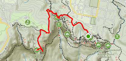 Moya Point Lookout and Gladstone Lookout via Short Cut, Grand Cliff, and Inspiration Point Tracks Map