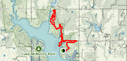 Lake McMurtry East Side Trails (Yellow) Map