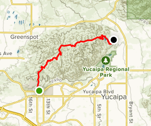 Crafton Hills Ridge Trail: College to Grape Avenue Map