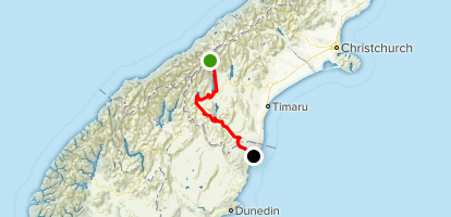 Alps to Ocean: Mount Cook to Oamaru Map