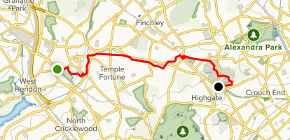 Capital Ring Walk Map Capital Ring Walk: Hendon to Highgate   London, England | AllTrails