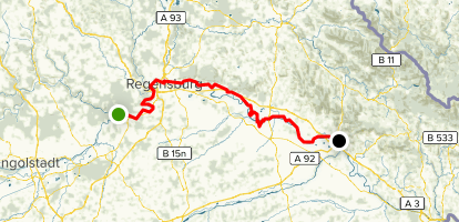 Danube Cycle Path Stage 6: Kelheim to Deggendorf - Bavaria ... on huang he map, germany map, thames map, black sea map, alps map, ebro map, euphrates map, vistula map, douro map, prague map, romania map, ganges map, rhone map, seine map, rhine map, volga map, elbe map, dnieper map, yangtze map, iberian peninsula map,