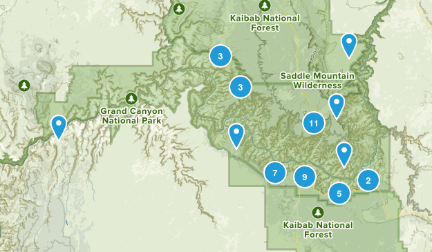 Grand Canyon National Park Trail Running Map