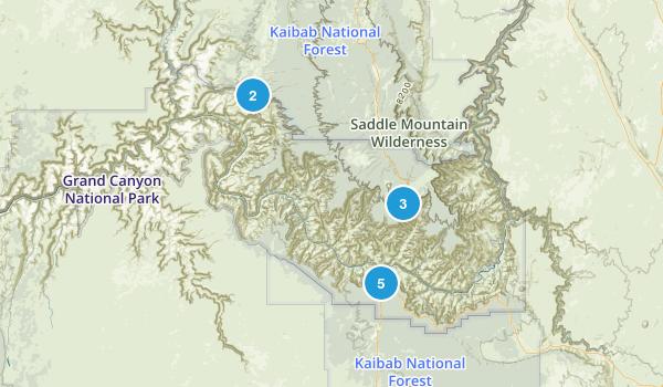 Grand Canyon National Park Waterfall Map