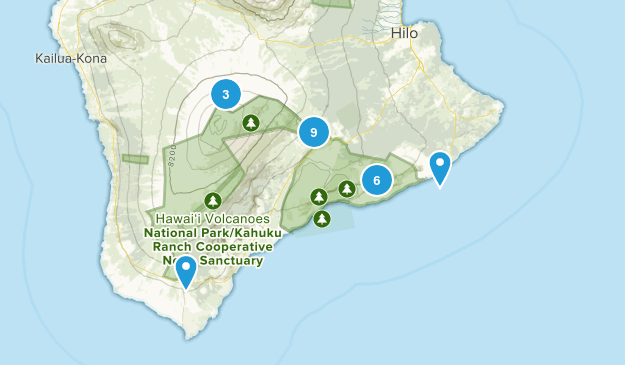 Hawaii Volcanoes National Park Nature Trips Map