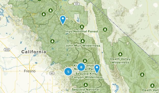 Kings Canyon National Park Waterfall Map