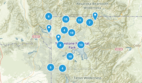 Yellowstone National Park Trail Running Map