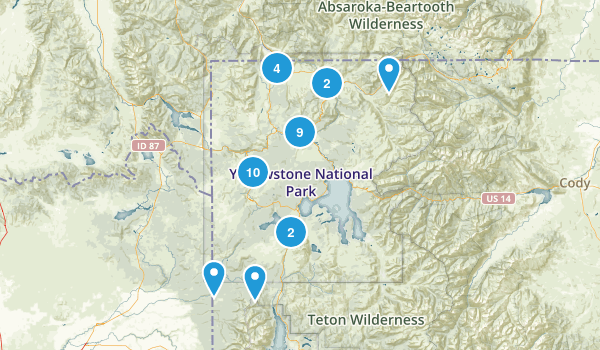 Best waterfall trails in yellowstone national park 1009 photos yellowstone national park waterfall map sciox Image collections