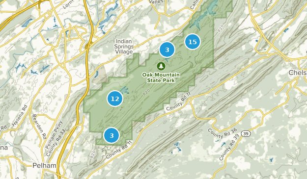 Oak Mountain State Park Hiking Map