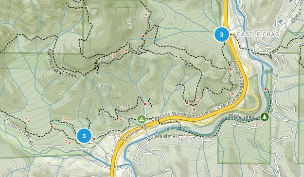 Parc d'État Castle Crags Hiking Map