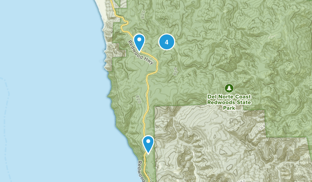 Del Norte Coast Redwood State Park Nature Trips Map