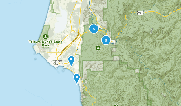 Jedediah Smith Redwood State Park Hiking Map