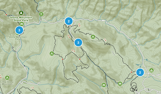 Stone Mountain State Park Hiking Map