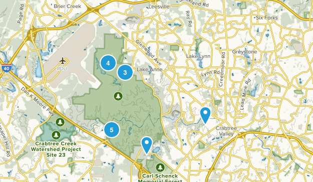 William B. Umstead State Park Trail Running Map