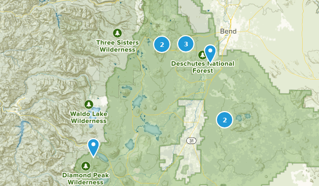 Forêt Nationale Deschutes Cross Country Skiing Map