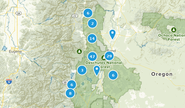 Forêt Nationale Deschutes Hiking Map