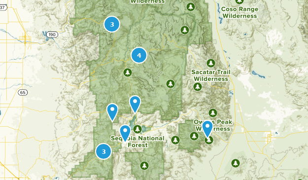 Forêt nationale de Sequoia Mountain Biking Map