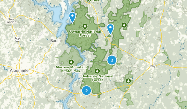 Forêt nationale d'Uwharrie Camping Map