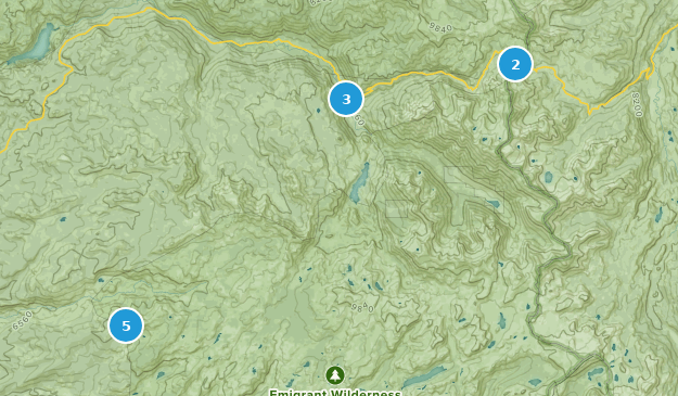 Emigrant Wilderness Camping Map