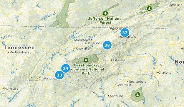 Forêt nationale de Cherokee Hiking Map