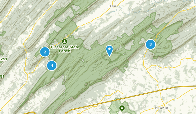 Forêt de Tuscarora Hiking Map