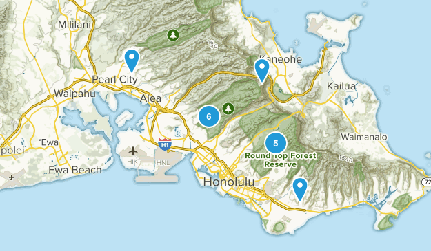 Honolulu Watershed Forest Reserve Nature Trips Map