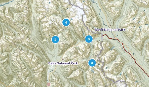 Yoho National Park Lake Map
