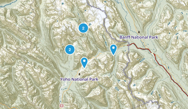Yoho National Park Trail Running Map