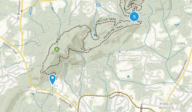 Sawnee Mountain Preserve Hiking Map