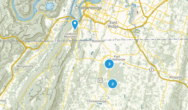 Chickamauga and Chattanooga National Military Park Nature Trips Map
