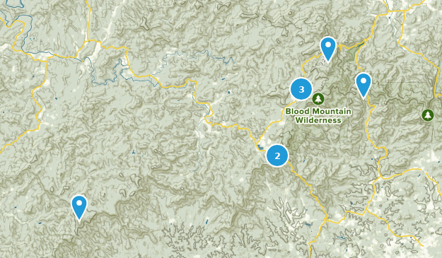 Blood Mountain Wilderness Hiking Map