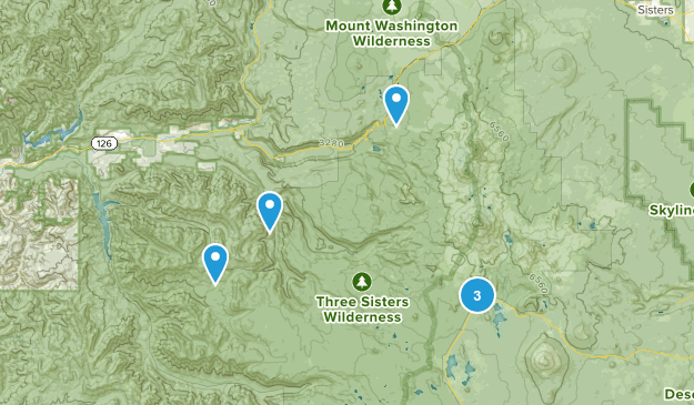 Three Sisters Wilderness Camping Map