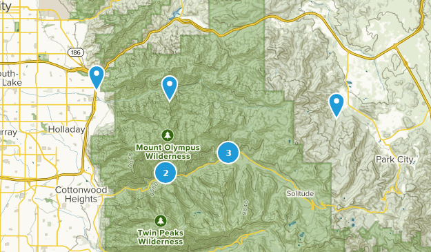 Mount Olympus Wilderness Snowshoeing Map